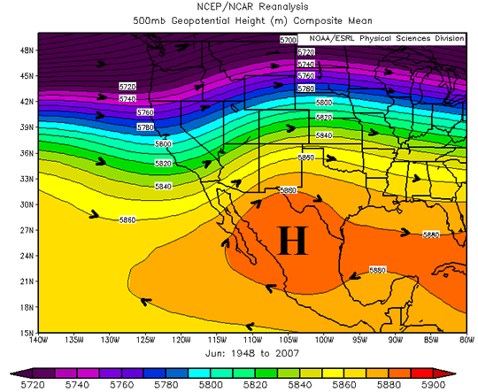 Mean 500mb height pattern, June. Subtropical high is strengthening over northern Mexico